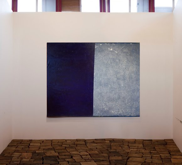 Untitled (purple and blue) putty, oil and pigment on linen 150x190cm 2017