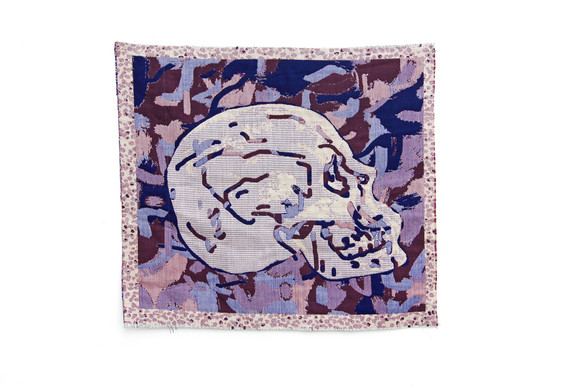 Allyce wood right facing skull digital jacquard tapestry with embroidery 2018