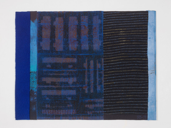 Runa boger bluenight (2019) 85x110cm textile collage